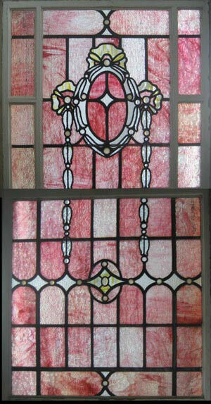 Pink Jeweled Antique English Stained Glass Window Very Rare