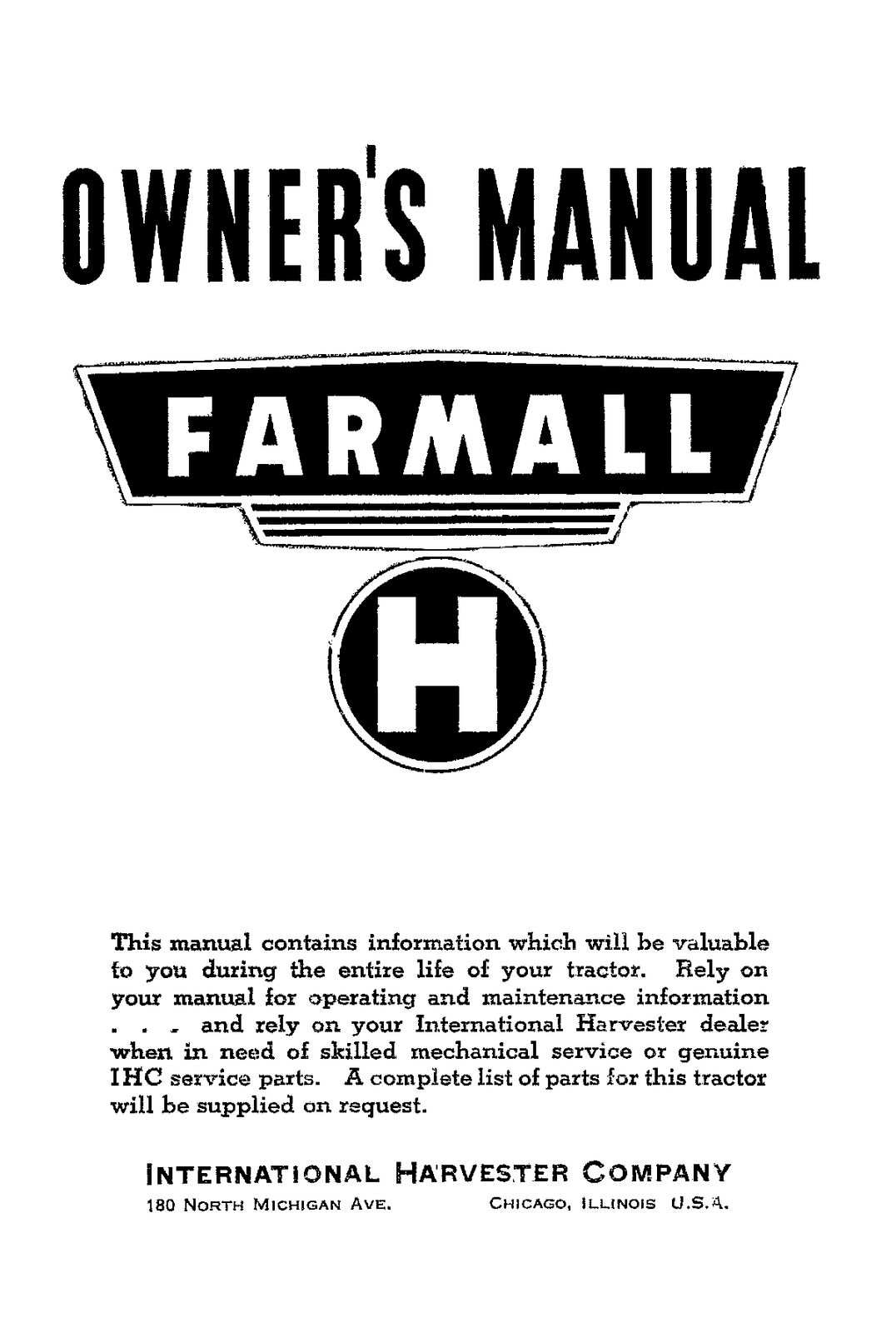 FARMALL H Owners Operators and Maintenance SERVICE manual INT-5730  International 1 of 4FREE Shipping ...