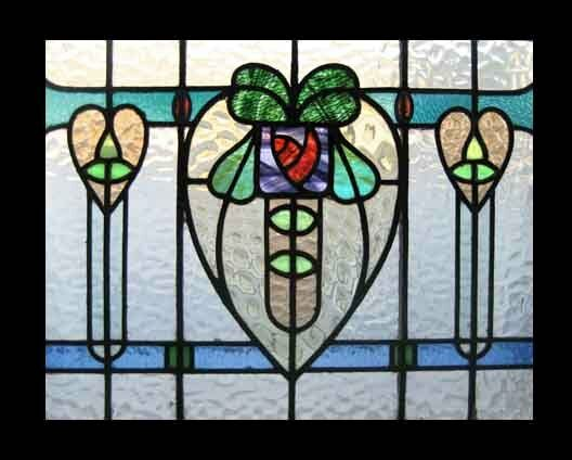 Mackintosh Rose Antique English Stained Glass Window