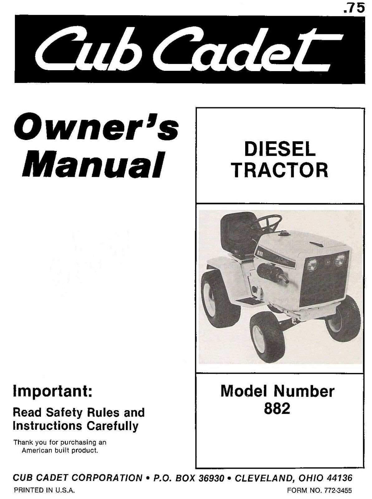 Cub Cadet IH Model 882 Diesel Tractor Operators manual 1 of 5FREE Shipping  ...