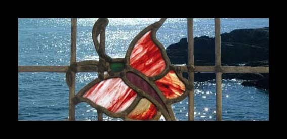 Fabulous Art Deco Butterfly English Stained Glass Window