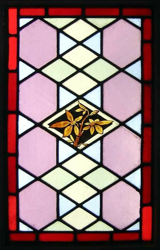 Beautiful Painted Leaves Antique English Stained Glass Window