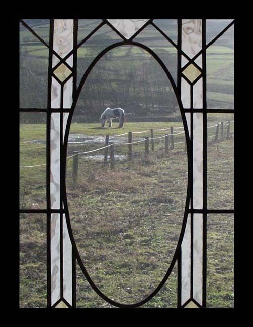 Pretty Arts & Crafts English Antique Stained Glass Window
