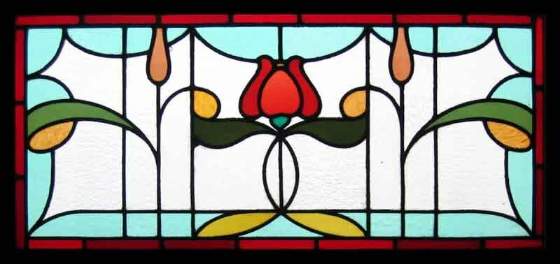 Fabulous Art Nouveau Tulip Antique English Stained Glass Window