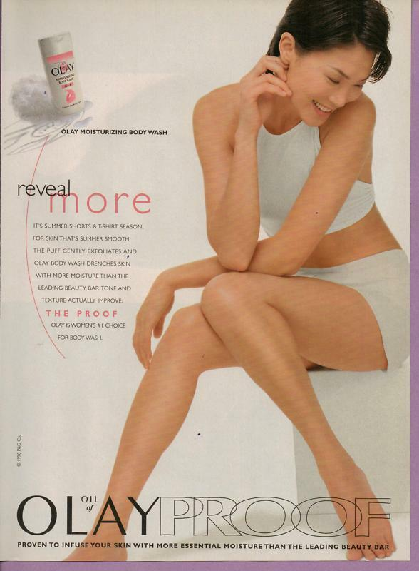 1998 Oil of Olay Body Wash Cute Woman Magazine Print Advertisement Page