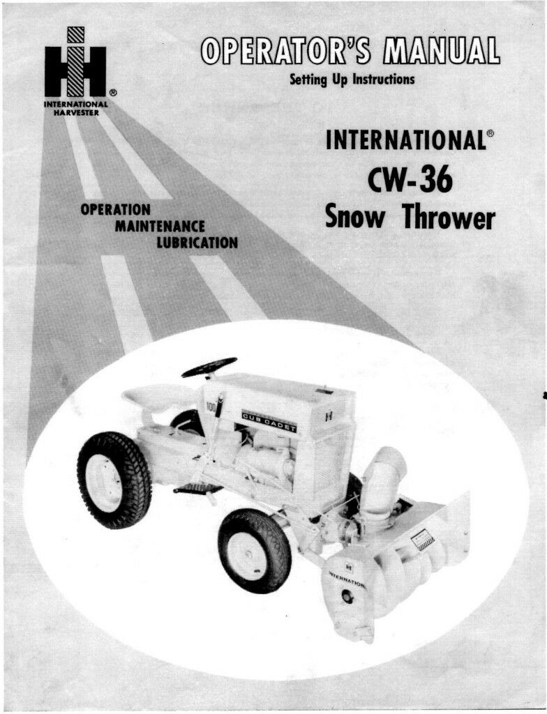 Cub Cadet CW36 Snow Thrower Operator Maintenence Manual 1 of 3FREE Shipping  ...