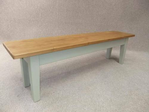 Handmade Pine Farmhouse Bench 7Ft With Painted Base