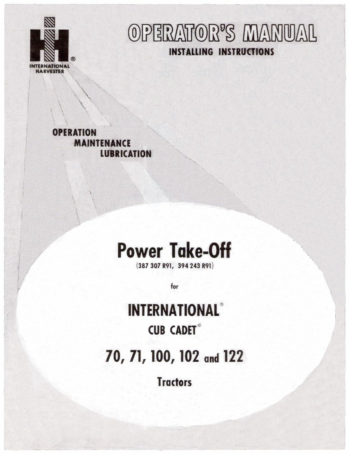 Cub Cadet Power Take Off For Model 70 Thru 122 Operators And 1962 Wiring Schematic Installation Manual 1 Of 4free Shipping