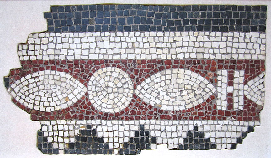 ANCIENT ROMAN MOSAIC PANEL FRAGMENT, circa 1st - 2nd Century A.D.