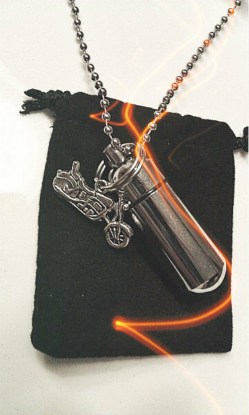 "Harley Davidson Motorcycle CREMATION URN 24"" Ball Chain NECKLACE Keepsake"