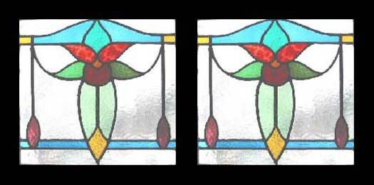 Fabulous Edwardian Antique English Floral Pair  Stained Glass Windows