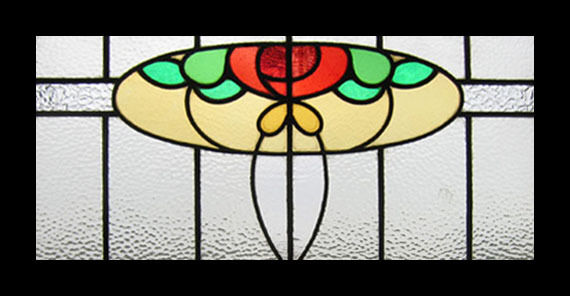 Art Nouveau Floral Antique English Stained Glass Window