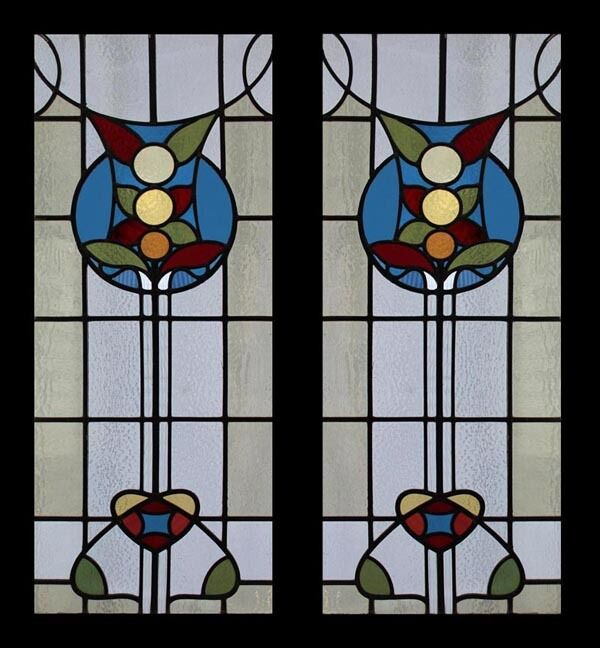Amazing Rare English Antique Arts And Crafts Pair Stained Glass Windows
