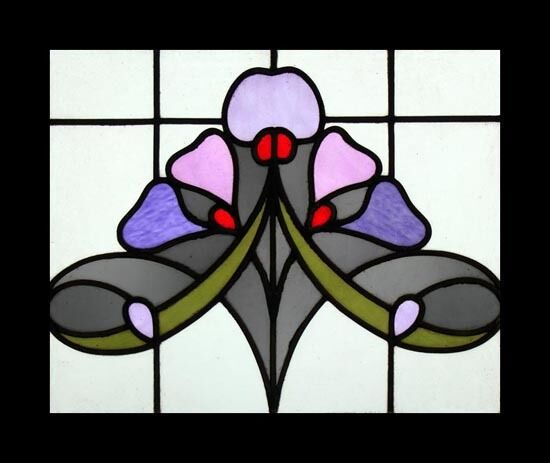 The Very Best Art Nouveau Violet Beauty English Antique Stained Glass Window
