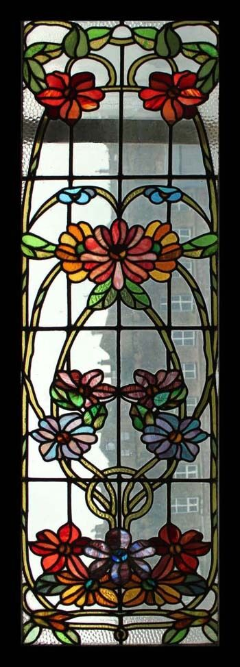 Stunning Rare Art Nouveau Antique English Floral Stained Glass Window