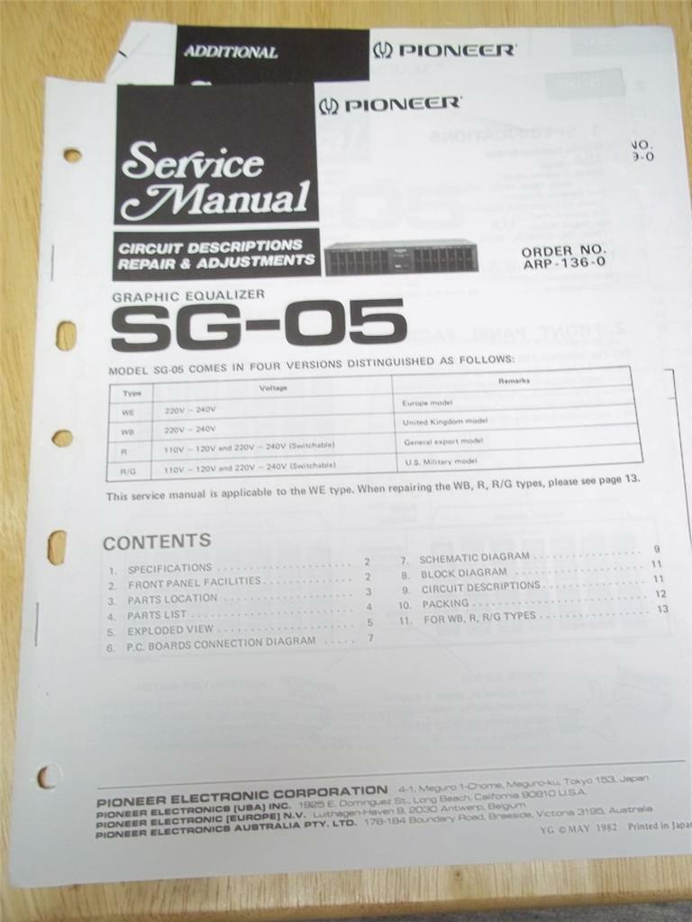 Pioneer Service Manualsg 05 Graphic Equalizeroriginalrepair Stereo Equalizer Wiring Diagram 1 Of 1only Available