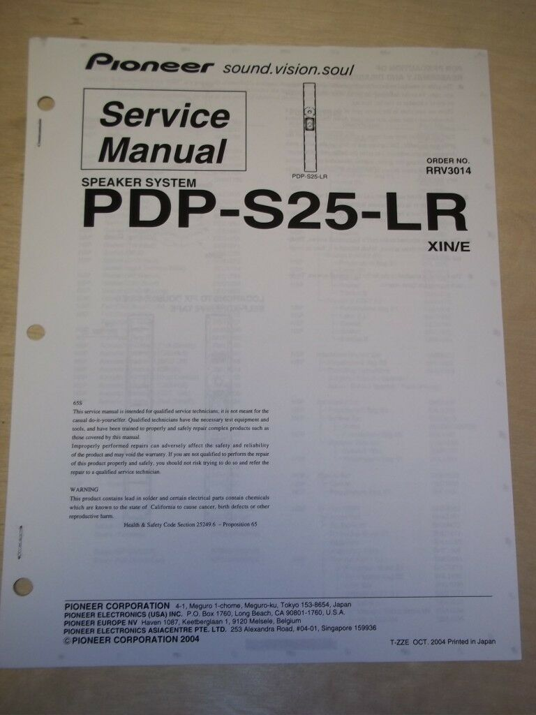 pioneer service manual pdp s25 lr speaker system for plasma tv rh picclick com Pioneer Electronics Pioneer Electronics