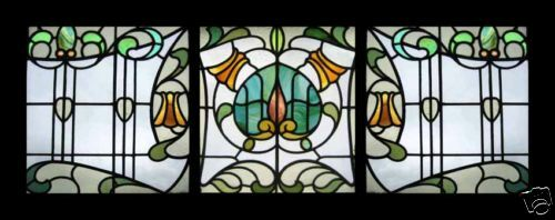 Rare Art Nouveau English Antique Set Of 3 Floral Stained Glass Windows