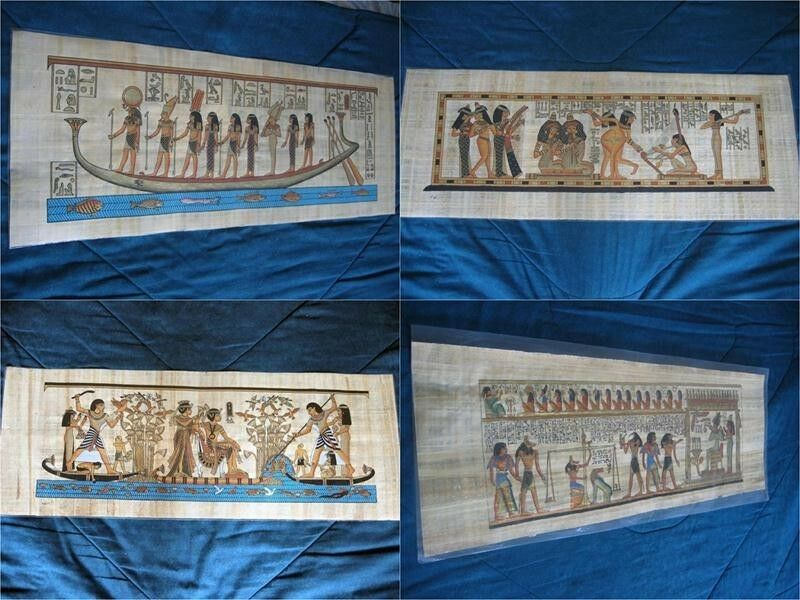 """Collection Set 4 Huge Signed Egyptian Papyrus Museum Art Paintings_32X12"""" Inches"""