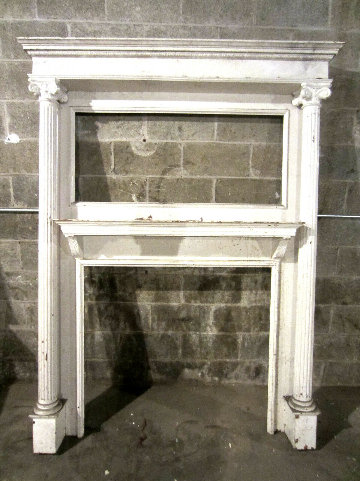 Tall Antique Carved Oak Fireplace Mantel Carving