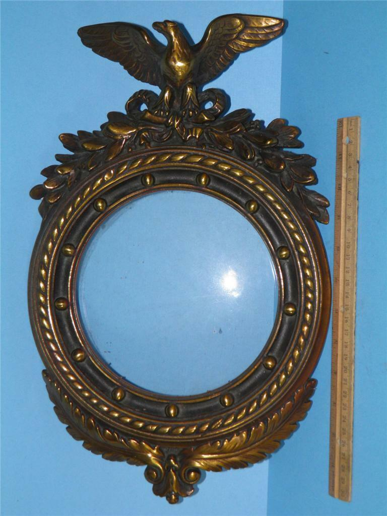 Antique Armor Bronze Federal Eagle Wall Art Picture Mirror