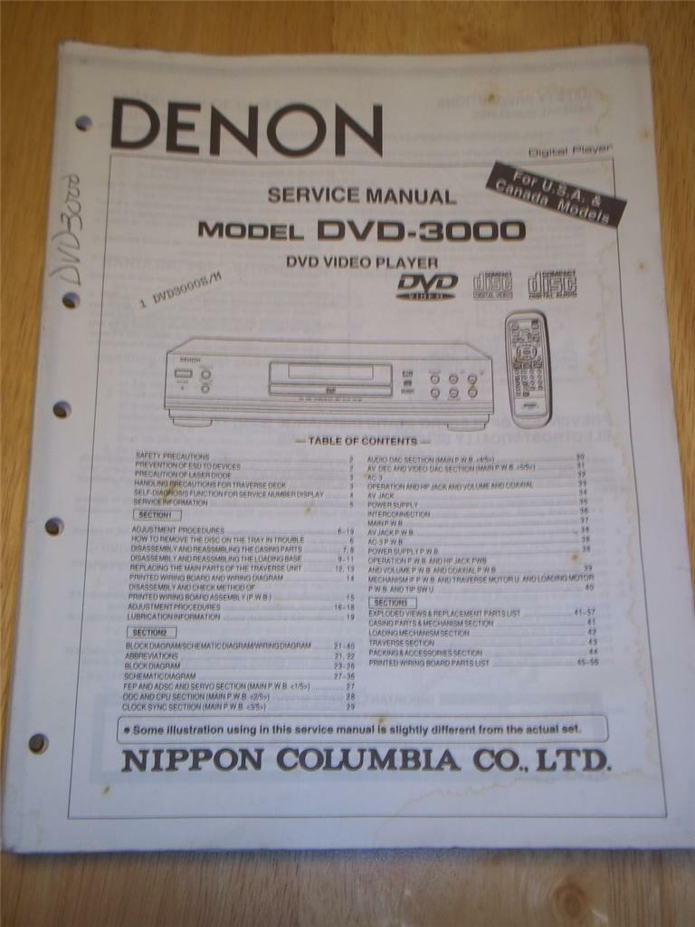 Denon Service Manual~DVD-3000 Video Player~Original~Repair 1 of 1Only 2  available ...