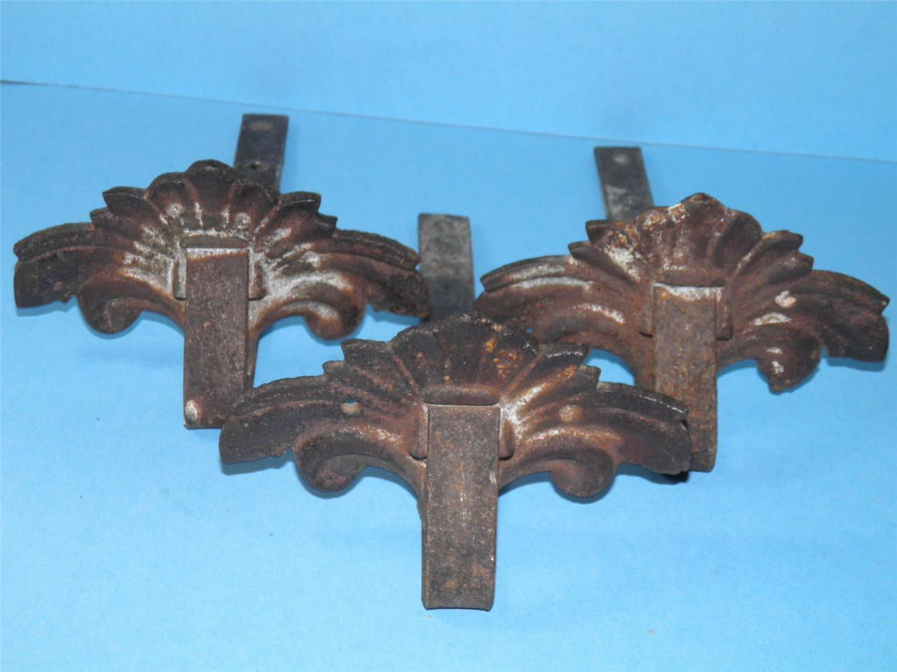 THREE ANTIQUE DECORATIVE CAST IRON ROOF MOUNT SNOWBIRDS SNOW ICE GUARDS c1902