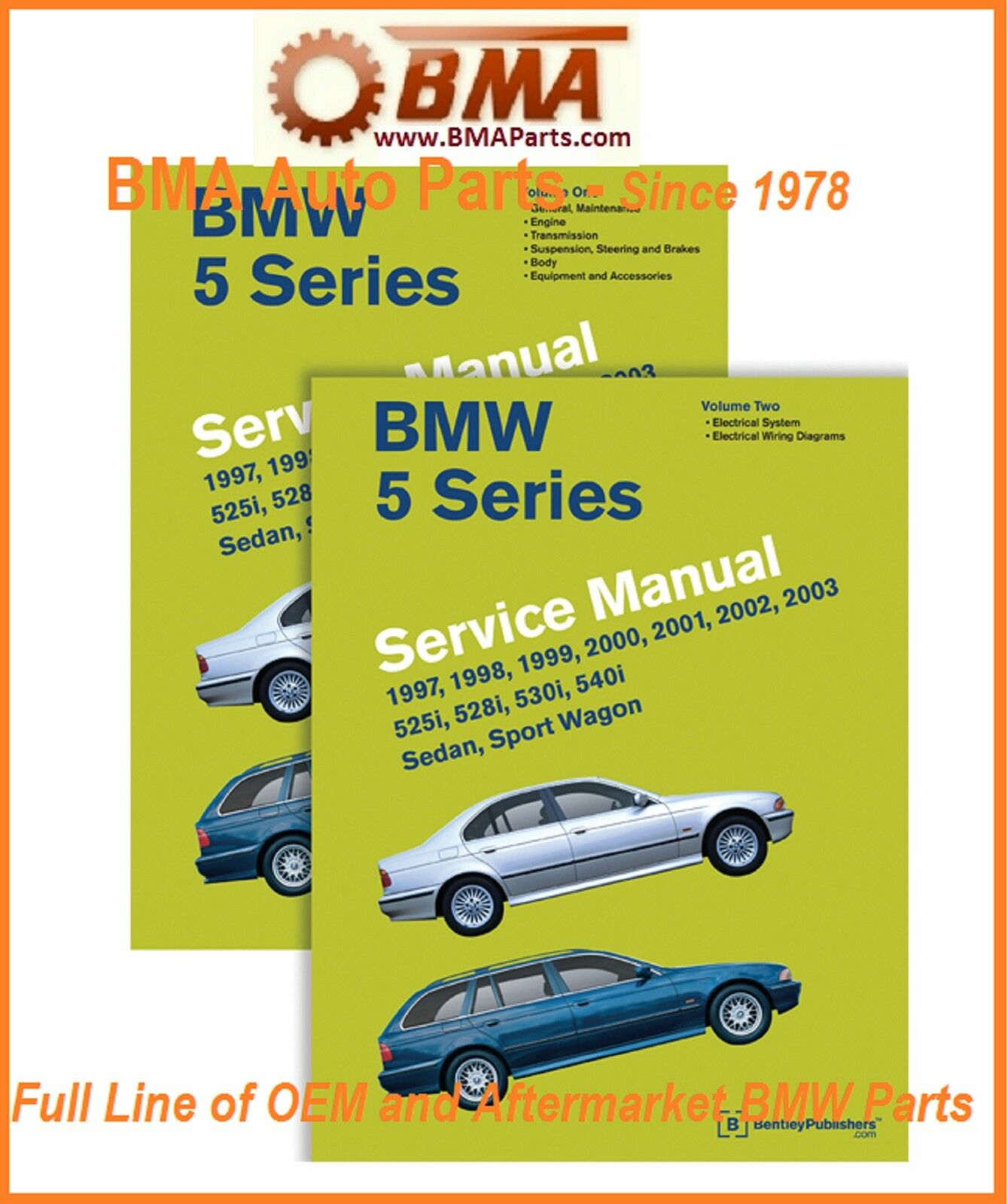 New E39 5 Series Bmw Bentley Repair Manual 97 2003 2 Volume Set 1998 540i Engine Diagram 1 Of 1free Shipping