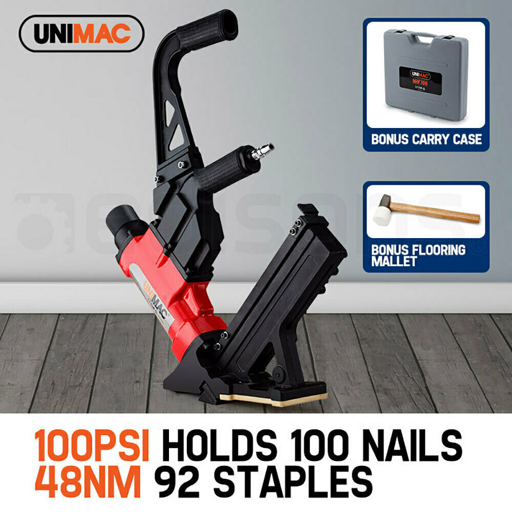 New unimac pneumatic flooring nailer staple gun floor gas for Floor nail gun