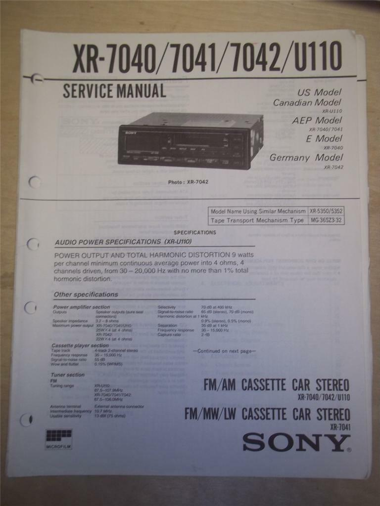 Sony Car Audio Manuals Pdf Of A 1970 Bb Cpe Wiring Diagram 70 Background Image Array Service Manual Xr 7040 7041 7042 U110 Cassette Deck Stereo Rh Picclick