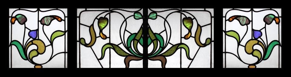Stunning Set Of 3 Art Nouveau Floral Beauty English Stained Glass Windows