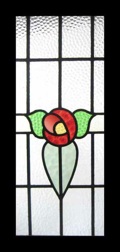 Very Pretty Mackintosh Rose Antique English Stained Glass Window