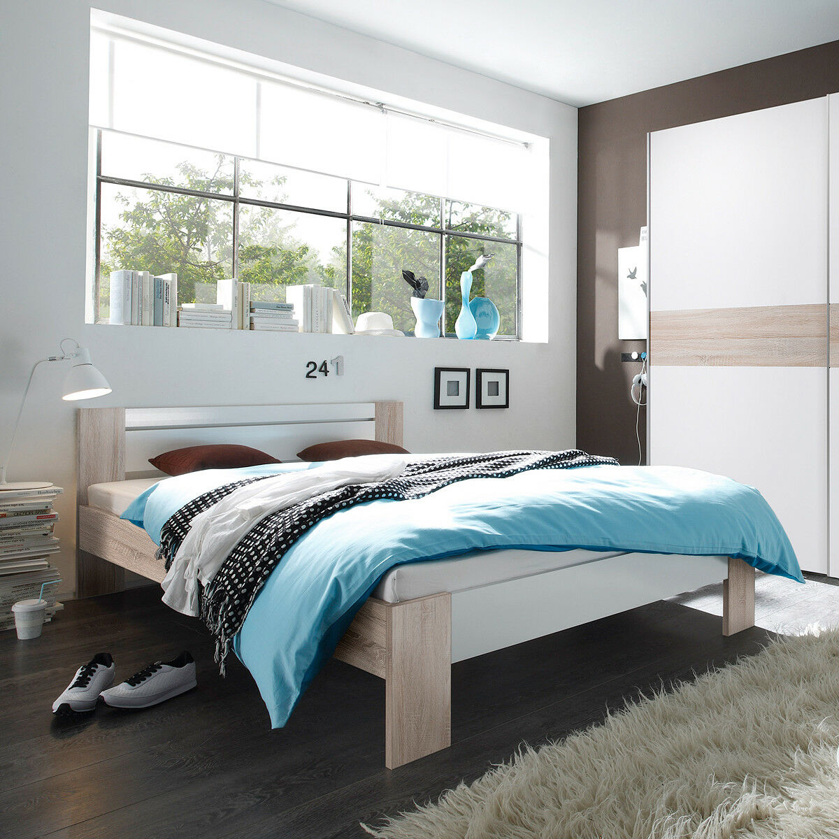 bett vega futonbett in sonoma eiche und wei mit rollrost und matratze 140x200 eur 149 95. Black Bedroom Furniture Sets. Home Design Ideas
