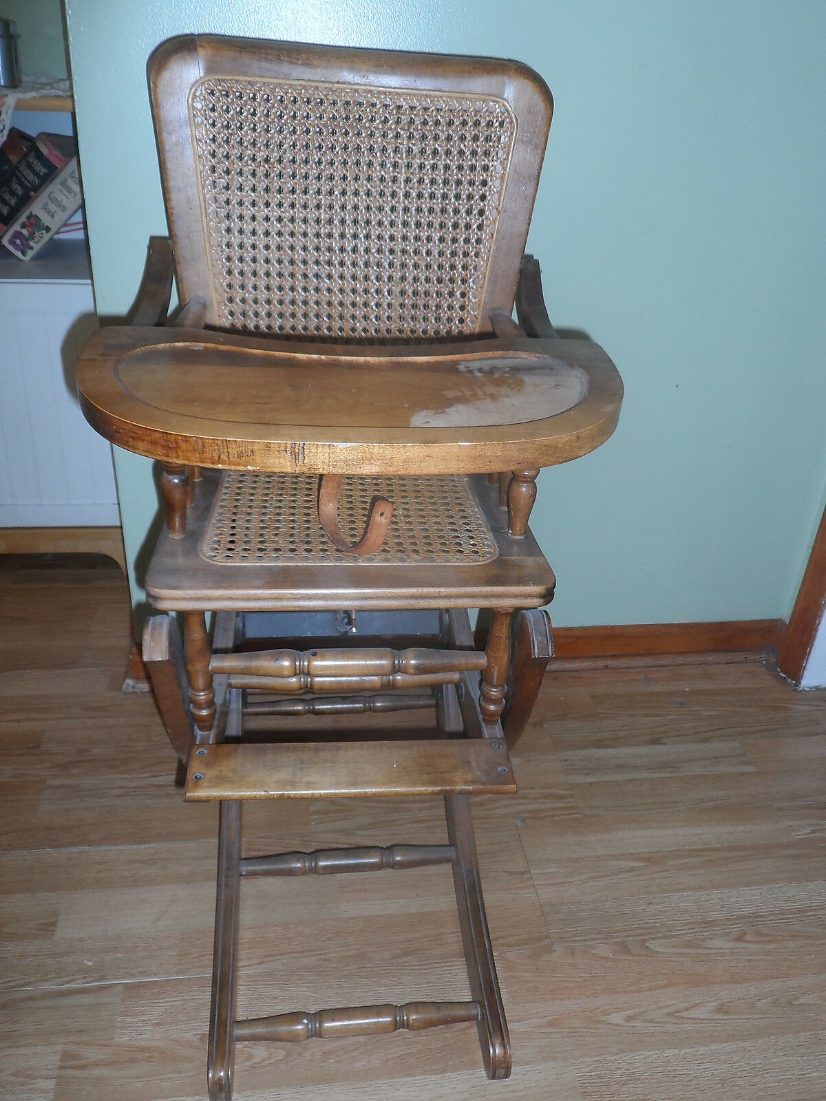 ANTIQUE CANE SEAT AND BACK VICTORIAN OAK HIGH CHAIR ROCKER CIRCA 1900. Full resolution  image, nominally Width 1200 Height 1600 pixels, image with #487383.