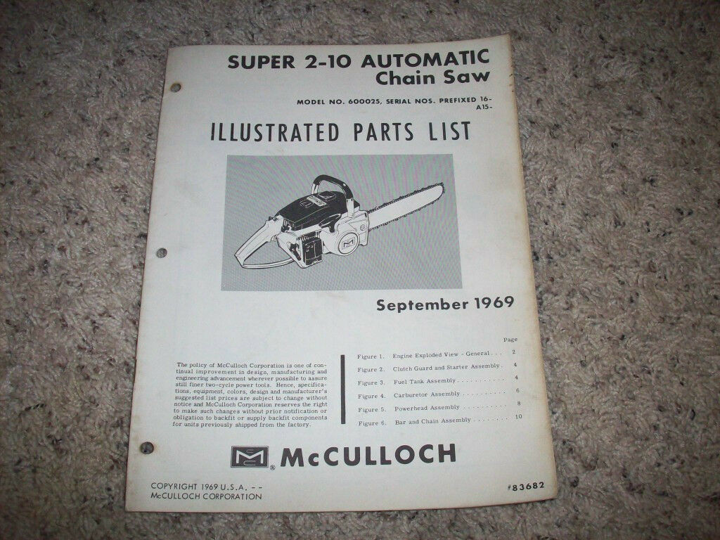 Sept 1969 Mcculloch Chain Saw-Super 2-10 - Illustrated Parts Manual 1 of  1Only 1 available ...