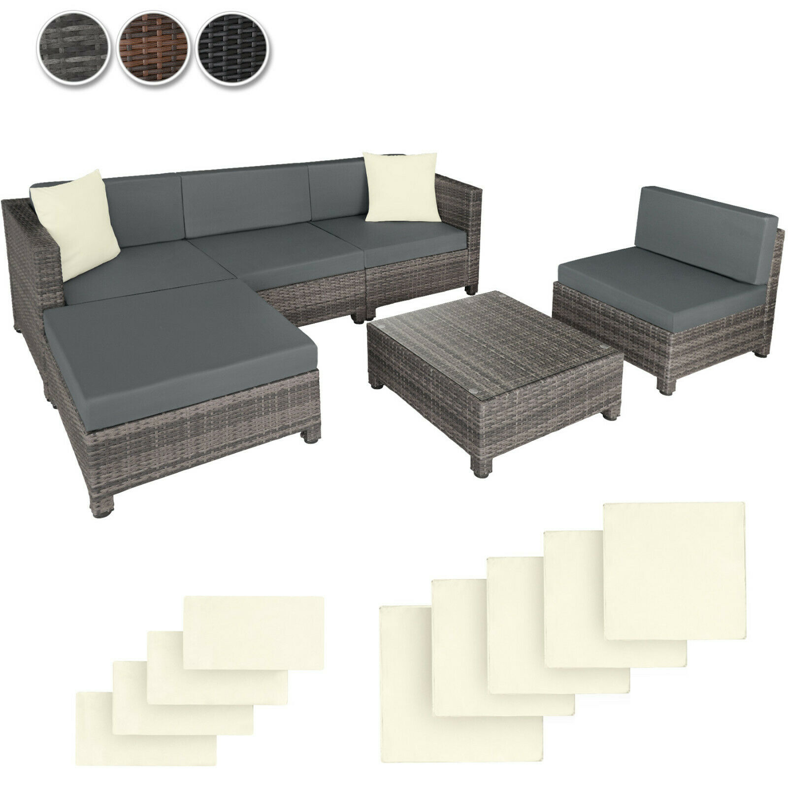 poly rattan aluminium sofa sitzgruppe gartenm bel lounge m bel 2 bez ge eur 302 99 picclick fr. Black Bedroom Furniture Sets. Home Design Ideas