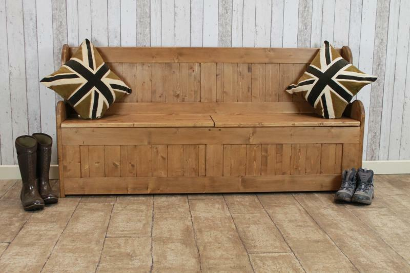 3Ft Waxed Pine Settle Pew Bench Storage Bench Handmade In Great Britain