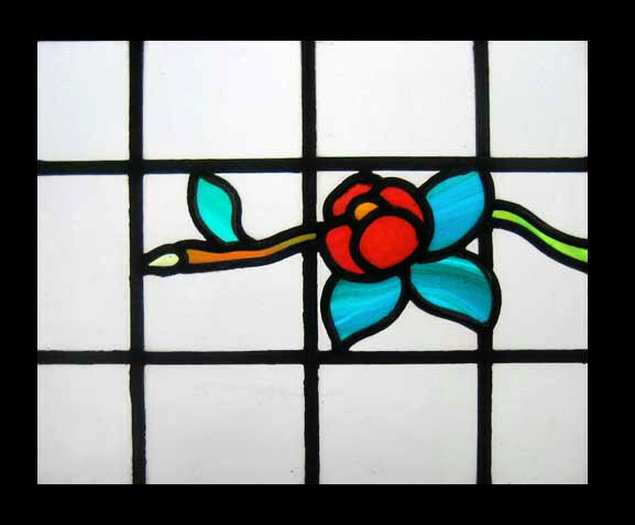 Art Deco Floral English Stained Glass Window