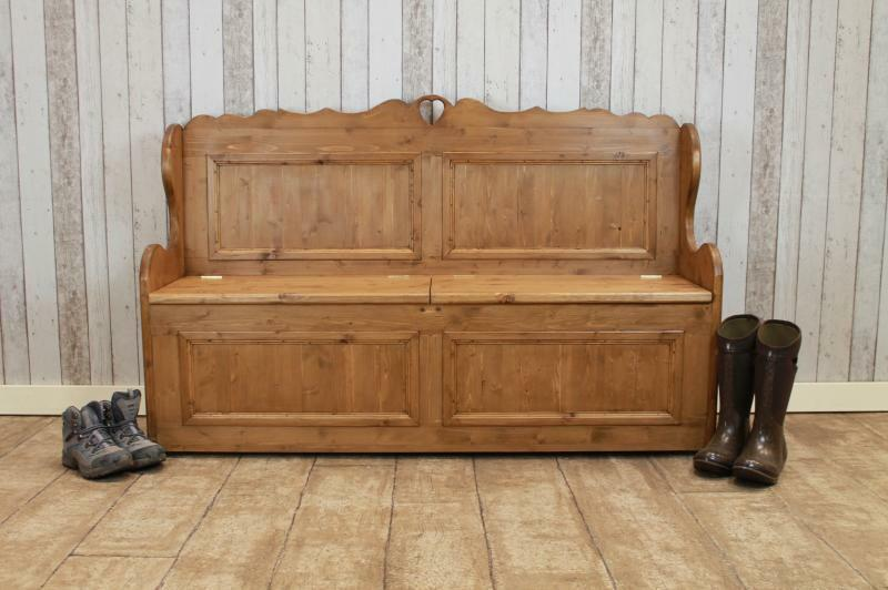 Handmade Pine Hall Settle Storage Bench With Heart 5Ft Rustic Pine Monks Bench
