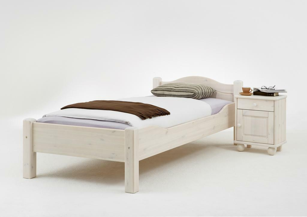 bettgestell kinderbett konsole jugendbett 100x200 bett wei kiefer massiv holz eur 389 00. Black Bedroom Furniture Sets. Home Design Ideas