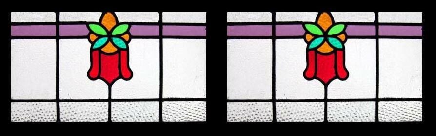 Stunning Pair Edwardian English Antique Floral Stained Glass Windows