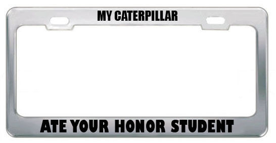 MY CATERPILLAR ATE YOUR HONOR STUDENT ANIMAL License Plate Frame Tag ...