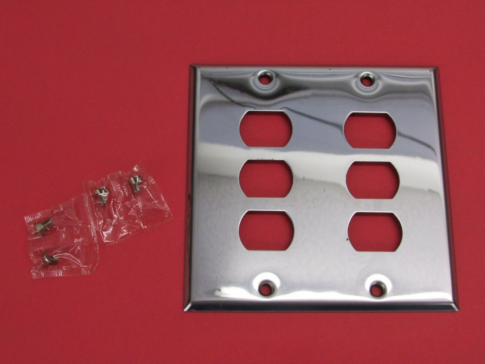 Nos! Bell Interchange 2-Gang Chrome Finish Wall Plate, Horizontal, 6-Hole