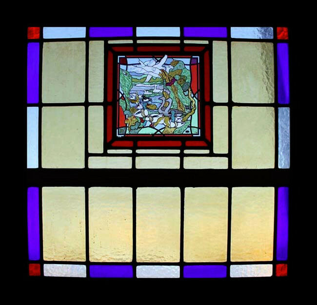 Spectacular Art Deco Ducks & Geese Stained Glass Window Fairyland Theme