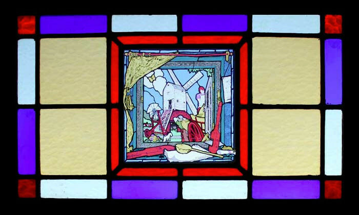 Spectacular Art Deco Windmill English Stained Glass Window Fairyland Theme