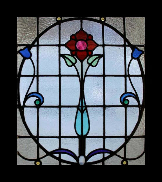 The Very Best Floral Art Nouveau Antique Scottish Stained Glass Window