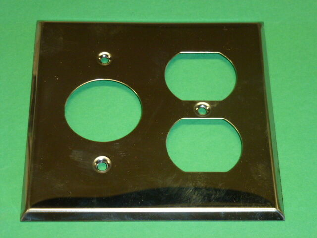 Nos! (2) Bell Electric 2-Gang Chrome Finish Duplex & Single Receptacle Plate