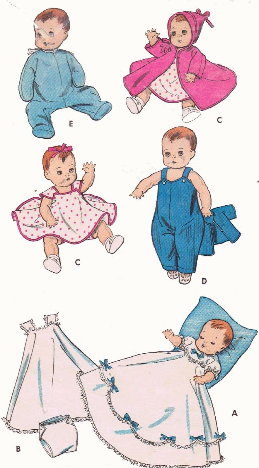 Vintage Doll Clothes Pattern 8800 For 8 9 Inch Baby Dolls