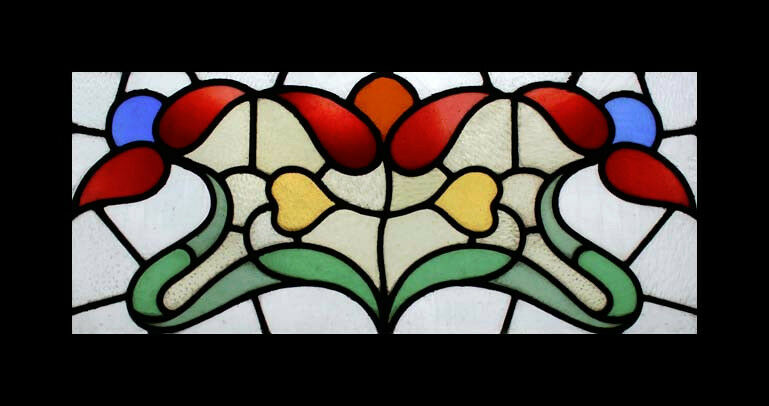 Stunning Art Nouveau Floral English Antique Stained Glass Window