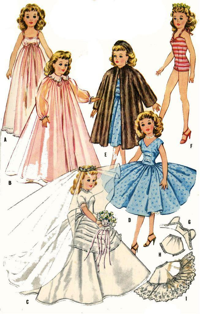 vintage doll clothes pattern 2162 for 12 in revlon